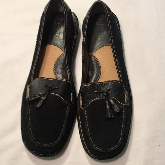 Born Shoes - Born Black Leather And Suede Tassels Loafer Sz 8